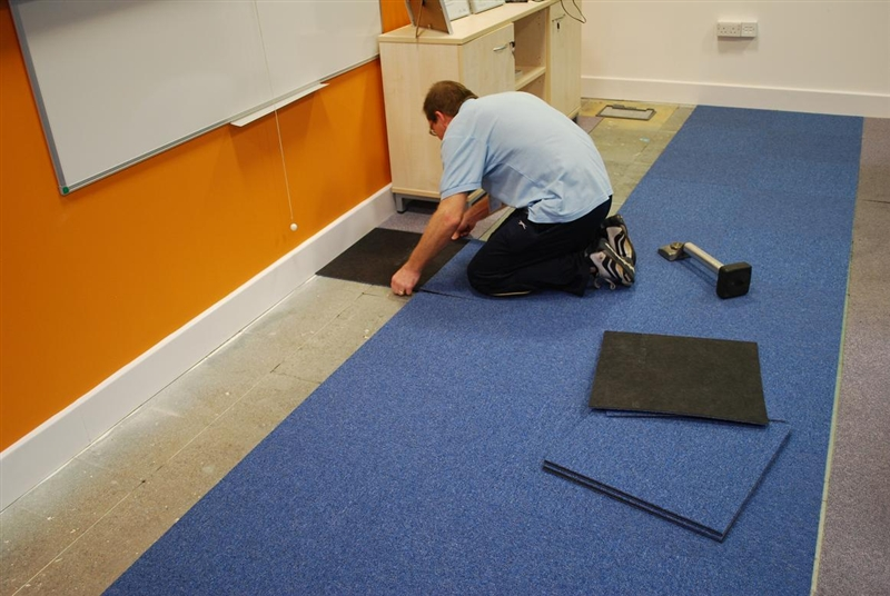 office with carpet tiles